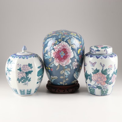 Asian Hand-Painted Ceramic Vase and Jars