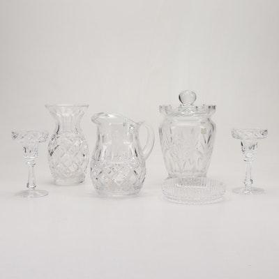 Crystal Vase, Candlesticks, Pitcher, Lidded Jar and Dish