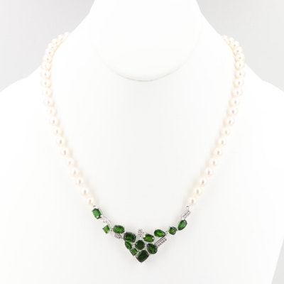 Sterling Silver Diopside, Cultured Pearl and White Topaz Necklace