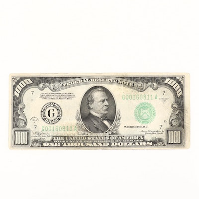1934 A $1000 Federal Reserve Note with Green Seal