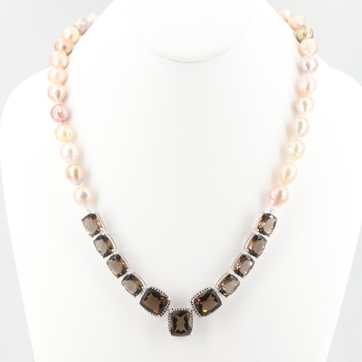 Sterling Silver Smoky Quartz and Cultured Pearl Necklace