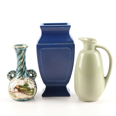Frankoma Ewer with Hand-Painted Portuguese BH Castelor Vase and More