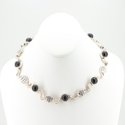 Mexican Sterling Silver Imitation Onyx Necklace