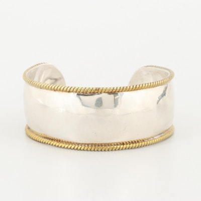 Mexican Sterling Silver with Gold Wash Braid Cuff Bracelet