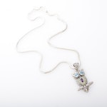 Sterling Silver and 18K Yellow Gold Topaz, Peridot and Amethyst Owl Necklace