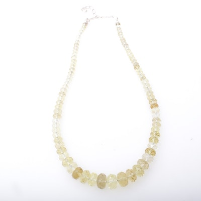 Sterling Silver Citrine Beaded Necklace