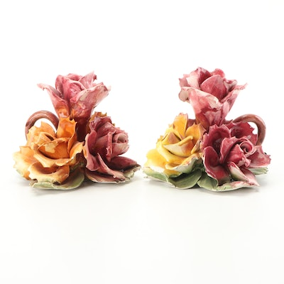 Capidomonte Style Porcelain Rose Candleholders