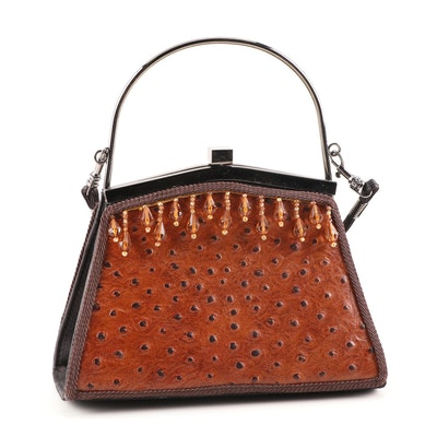 Moo Roo Mary Norton Beaded Ostrich Embossed Brown Leather Frame Bag