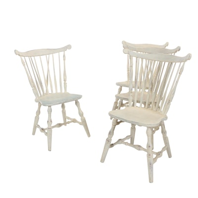 Four S. Bent & Brothers Inc., White-Painted Comb-Back Windsor Side Chairs