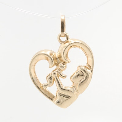 10K Yellow Gold Mother and Child Pendant