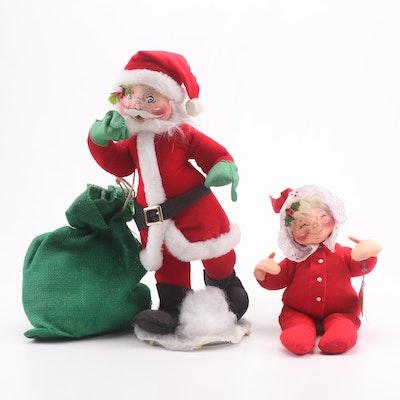 Annalee Santa with Bag and Mrs. Santa Plush Dolls