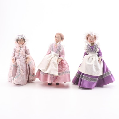French Painted Porcelain Dolls in Period Dress, Early 20th Century
