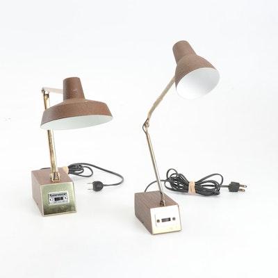 Two Tensor Teak Style Metal Adjustable Desk Lamps