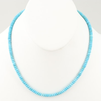 14K Yellow Gold Turquoise Beaded Necklace