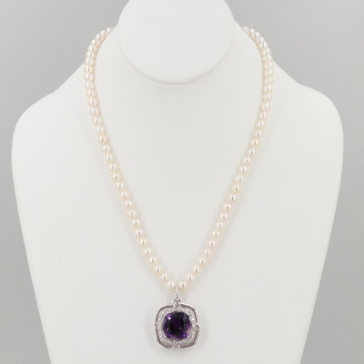 Sterling Silver Amethyst, White Sapphire and Cultured Pearl Necklace