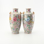 Chinese Millefleur Porcelain Floral Vases with Gilt Bat Handles, Qing Dynasty