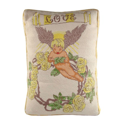 Needlepoint Pillow with Quilted Back
