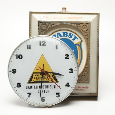 Pabst Lighted Wall Sign with Phenix Wall Clock