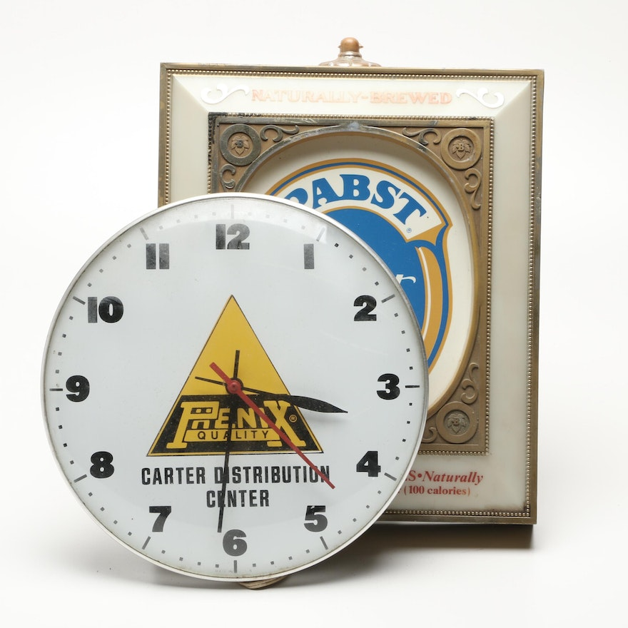 Pabst Lighted Wall Sign with Phenix Wall Clock | EBTH