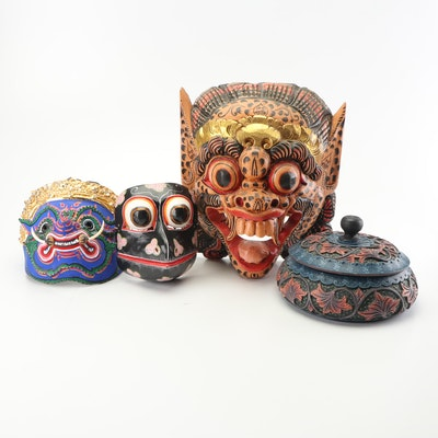Indonesian Hand Painted Masks and Decorative Box