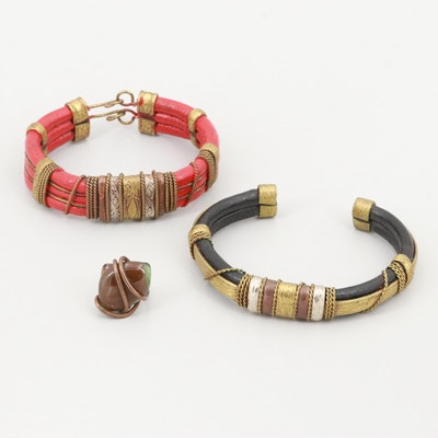 Vintage Gold Tone Leather Bracelets and Faceted Glass Ring