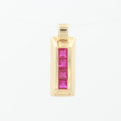 14K Yellow Gold Ruby Pendant