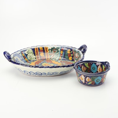 Hand-Painted Mexican Talavera Vazquez Serveware, Mid to Late 20th Century