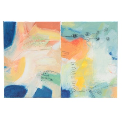 Abstract Diptych Mixed Media Painting