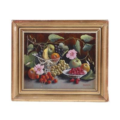 "Burrows Oil Painting ""Still Life Fruit"""