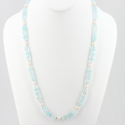 Sterling Silver Aquamarine and Cultured Pearl Necklace