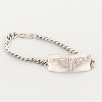Sterling Silver World War II U.S. Army Air Force Bombardier Wings Bracelet