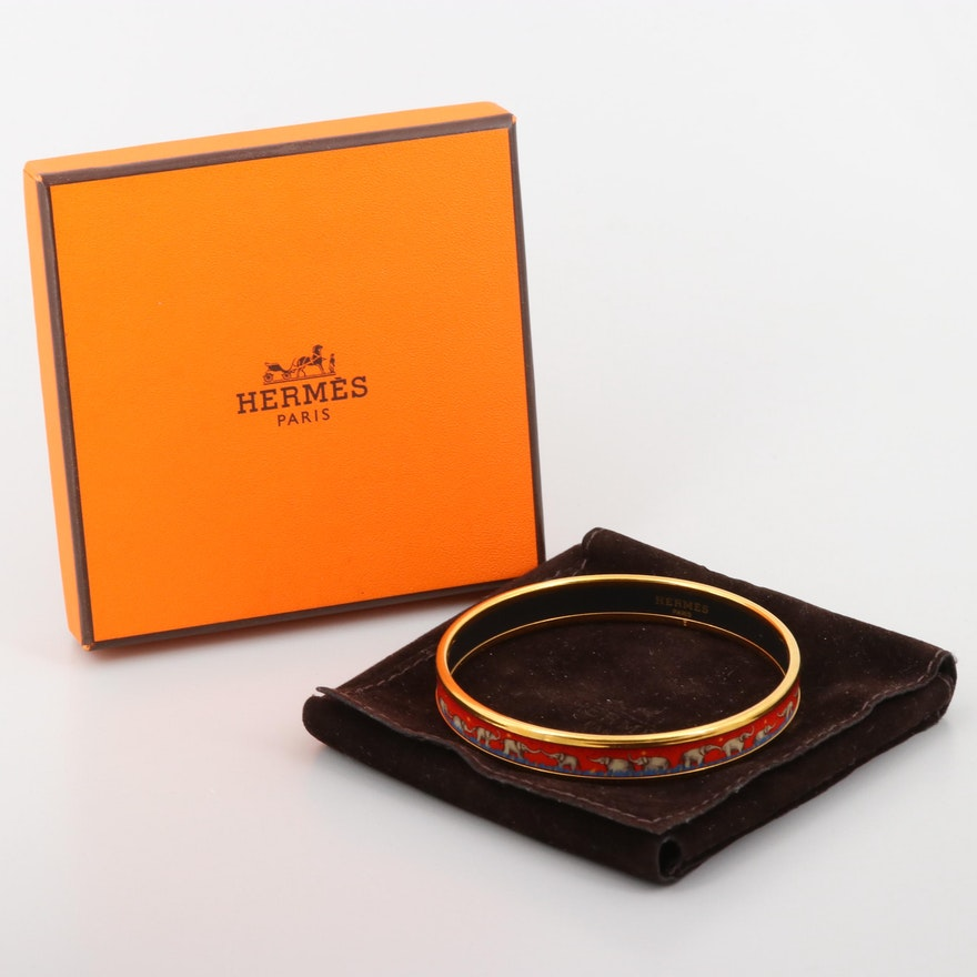 Hermés Gold Tone Enamel Elephant Bangle Bracelet with Pouch and Box