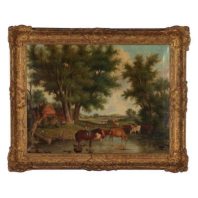 19th Century Pastoral Landscape Oil Painting