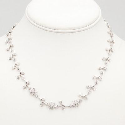 14K White Gold 1.00 CTW Diamond Foliate Motif Necklace