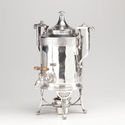Reed & Barton Silver Plate Hot Beverage Dispenser, circa 1890