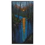 "Douglas ""Bumo"" Johnpeer Oil Painting ""Moon River"""