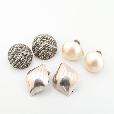 Sterling Silver Imitation Pearl and Marcasite Earrings