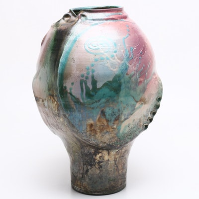 Raku Fired Thrown Stoneware Vase, Contemporary