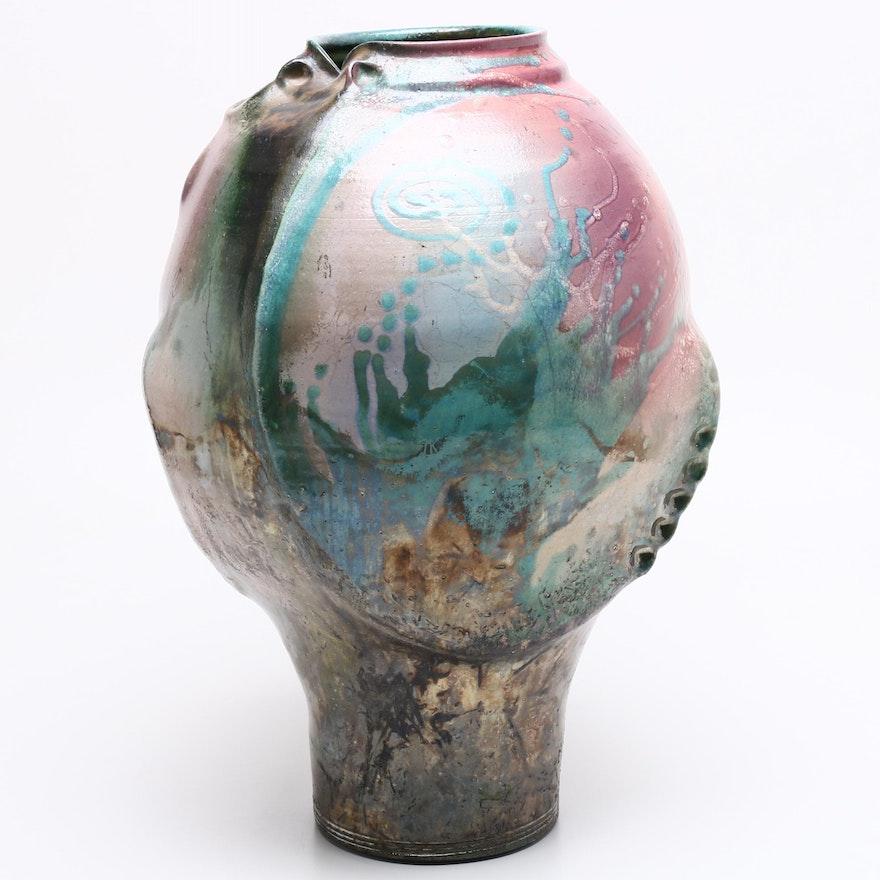 Raku Fired Thrown Stoneware Vase, Contemporary