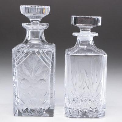 American Brilliant Style Cut Glass Decanters, Mid-Century
