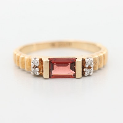 10K Yellow Gold Garnet and Diamond Ring