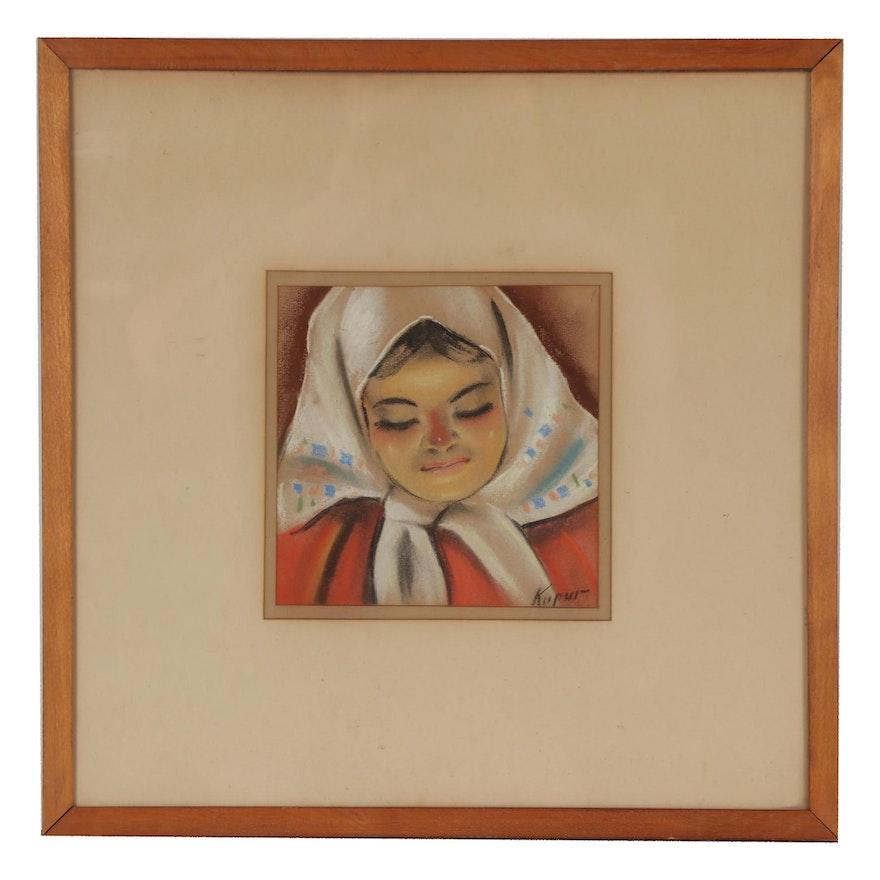 Mid 20th Century Pastel Portrait