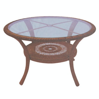 "Hampton Bay Glass Top ""Cape Cod"" Wicker Table"