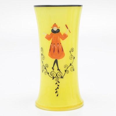 Czech Hand-Painted Art Deco Tango Glass Vase, Circa 1930s