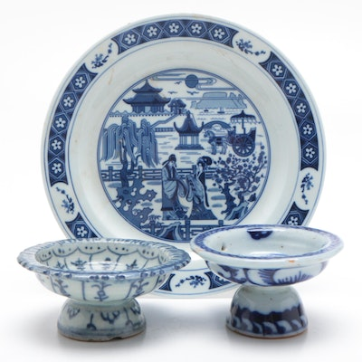 Chinese Blue on White Plate with Pedestal Bowls, 20th Century