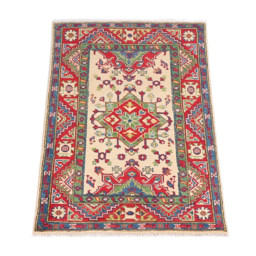 Hand-Knotted Pakistani Kazak Wool Rug