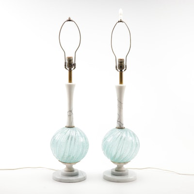 Marble and Bulbous Glass Table Lamps, Mid-Century