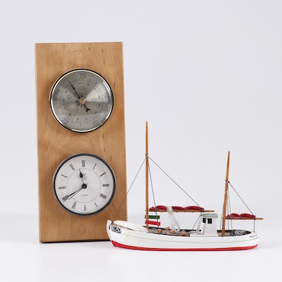 Nautical Wall-Mount Weather Station and Danish Wooden Model Ship
