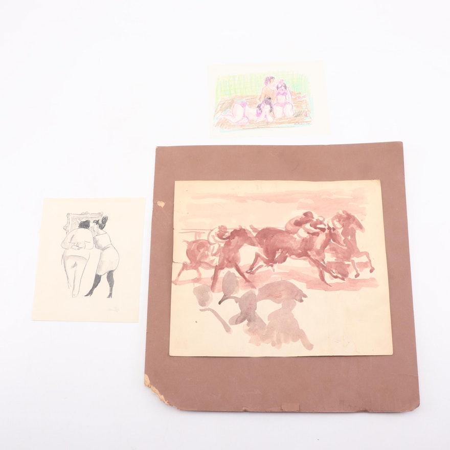 Gustav Likan Sketches and Horse Jockey Watercolor Painting