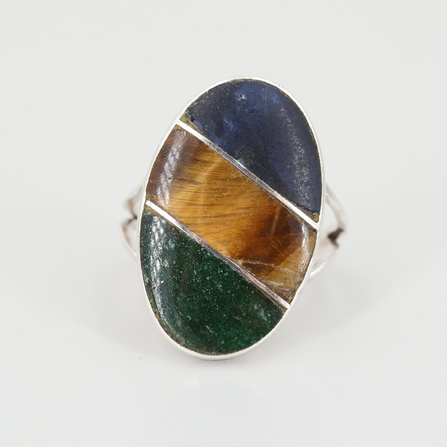 Mexican Sterling Silver Ring with Inlaid Tiger's Eye, Sodalite and Aventurine